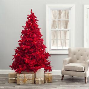 TALL Pre-lit Red artificial Christmas Xmas Tree w/ LED lights, Bulb - Metal Base