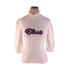 Burberry knit Logo White Red Woman Authentic Used N197