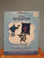 Disney Store Wisdom Pin Set Genie & Abu, lamp, Aladdin Quote 3 Pins LE October