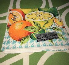 VIntage Parisian Print Linen Towels ORANGES LIMES LEMONS Never Used NEW