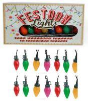 set of 20 coloured vintage retro style FESTOON fairy xmas christmas tree lights