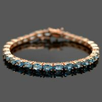 Natural Swiss Blue Topaz 14k Rose Gold Plate Sterling 925 Silver Tennis Bracelet