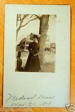 Medway MA Massachusetts 1909 Lady in Hat & Coat Tree Houses Photo Postcard rppc