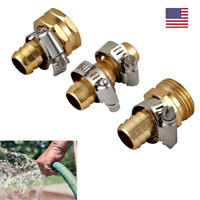 """Garden Hose Repair Mender Kit 4 Stainless Clamps Solid Brass Fittings Fix 5/8"""""""