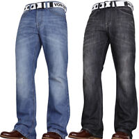 VON DENIM MENS JEANS NEW BOOTCUT GIFT FLARED WIDE LEG KING PLUS WAIST SIZES