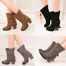 Womens Faux Suede Mid Calf Wide Ankle Boots Ladies Block Heels Casual Shoes Size