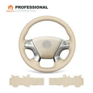 Beige Leather Steering Wheel Cover for Infiniti JX35 M56 Q70 Nissan Pathfinder