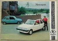METROSPORT by RAPPORT Car Sales Brochure Leaflet & Press Photograph 1980s