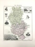 1893 Antique Map of Rhone Lyon France Old French Department Hand Coloured