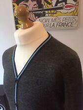 Fred Perry Grey 100% Merino Wool Cardigan V Neck Jumper M Mod Ska Skins 60s Ivy