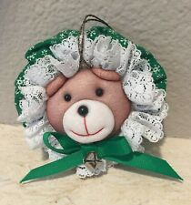 Vintage Hand Crafted Cloth Bear Bonnet Christmas Tree Ornament