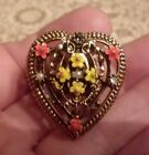 Vintage+Antique+Scarf+Clip+Jewelry+Signed+ART+Heart+Flowers+Open+Work+Gold+Tone