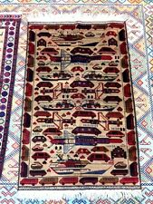 AFGHAN WAR RUG VINTAGE AK47 KALASHNIKOV TANKS GRENADES 3X5 WARRIOR CARPET LARGE