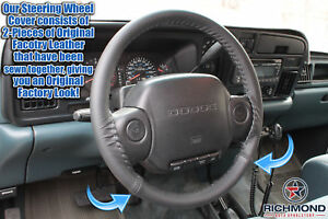 For 1995 Dodge Ram 1500 2500 3500 Laramie SLT-Black Leather Steering Wheel Cover