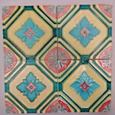 MAJOLICA TILE VINTAGE ART NOUVEAU CERAMIC GLAZED DK JAPAN GEOMETRIC PATTERN #249