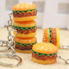 3D Cute Lifelike Hamburger Keyrings Resin Novelty Simulation Food Key Chains New