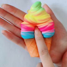 Kawaii Squishy 10cm Rainbow Ice Cream Cone Slow Rising Scented Jumbo Abreact Toy