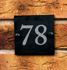 Rustic Slate House Door Gate Number - Personalised Plaque Sign - Free Fittings