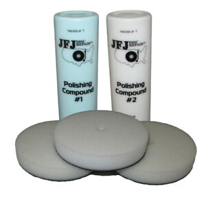 JFJ EASY PRO Supply Pack 1 - 2 x 12oz Solution & 3 x Buffing Pads