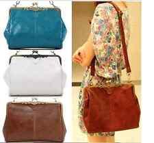 Handtasche Vintage Retro braun blau weiss Damen Tasche PU Leder Style Romantik
