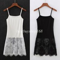 Womens Ladies Floral Lace Eyelash Trim Cami Tank Top Camisole Shirt Extender 2XL