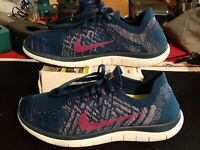 Nike Free 4.0 Flyknit Women's Blue Pink Knit Lace Up Running Shoes Size 8