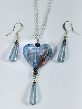 Hand Crafted Light Blue Heart With Gold Splash Accent Necklace / Earrings Set