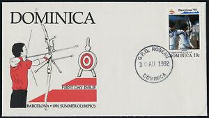 Dominica 1482 on FDC - Barcelona Summer Olympics, Archery