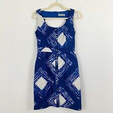 BETH BOWLEY Blue Sheath Dress Size 4 Sleeveless Cut Out Back Gold Buttons