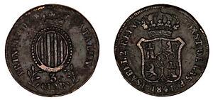 3 COPPER CUARTOS / COBRE. ISABELLA II - ISABEL II. 1841. SEGOVIA. VF- / MBC-.