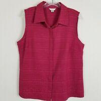 Christopher & Banks Sleeveless Top Shirt Womens XL Textured Dark Pink