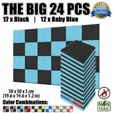New 24 pcs Baby Blue and Black Set Egg Crate Convoluted Acoustic Foam 50*50*3cm