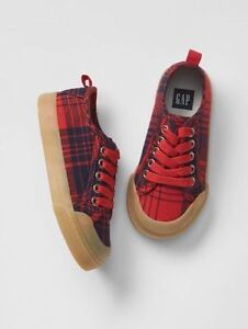 GAP Baby / Toddler Boys NWT Size 7 Red / Navy Blue Plaid Lace-Up Sneakers Shoes
