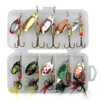 10 Fishing Lure Spinnerbait Bass Trout Salmon Hard Metal Spinner Baits Kit w Box