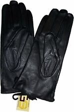 New Woman's Soft Leather Gloves Black Warm Winter Gloves  BN Les Guant De Cuir**