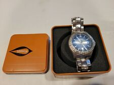 Fossil AM3689 Men's Watch Blue Dial Analog Stainless Steel Silver