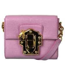 Dolce & Gabbana Lucertola Textur Borsa Borsa da Spalla Clutch Lucia Fucsia 08272