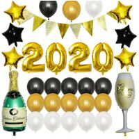 2020 Happy New Year Party Balloons Kit Decoration Latex Foil Balloon Banner