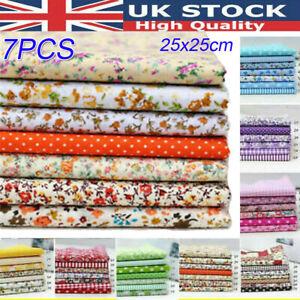 7Pcs 25x25cm Fabric Assorted Pre-Cut Fat Quarters Bundle DIY Decor - 100% Cotton