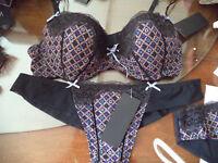 Heidi Klum intimates:2 teilig:padded Bügel BH 75B +  String/ Slip schwarz beige
