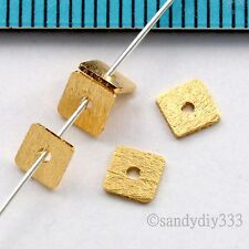 6x VERMEIL 18K GOLD STERLING SILVER SATIN SQUARE PLATE BEAD SPACER  4.1mm G231