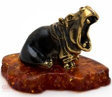 Solid Brass Amber Figurine Hippopotamus Hippo Behemoth yawing IronWork