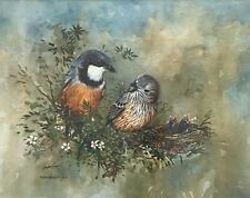 """Original Watercolour By Gayle Russell """"Rufous Whistlers"""" Signed & Titled"""