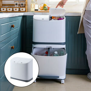 Kitchen Trash Can, 20L Dual Trash Can Recycle Wet and Dry Garbage Bin with