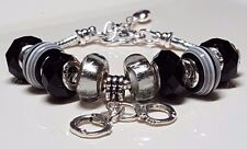 Corrections Gray & Black Crystal & Striped Gray Beads Handcuff European Bracelet