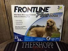 FRONTLINE PLUS FOR DOGS 23-44LB 3 MONTH SUPPLY FREE FAST SHIPPING!! EPA APPROVED