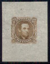 US #116-E1g 10¢ Lincoln die ESSAY, orange on 33x44mm cream bond paper, VF