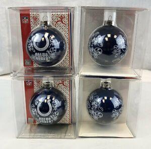 "4 PACK INDIANAPOLIS COLTS 3"" GLASS BALL XMAS CHRISTMAS ORNAMENTS FREE SHIP"