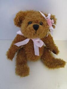 BROWN 12 inch  BRASS BUTTON BEAR Jointed