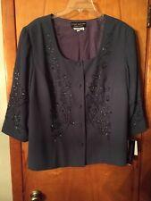 NWT Donna Morgan Women's Petites Steel Green Beaded 3/4 Slve Jacket Size 22
